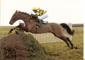 Sarah White galloping over a jump in a race